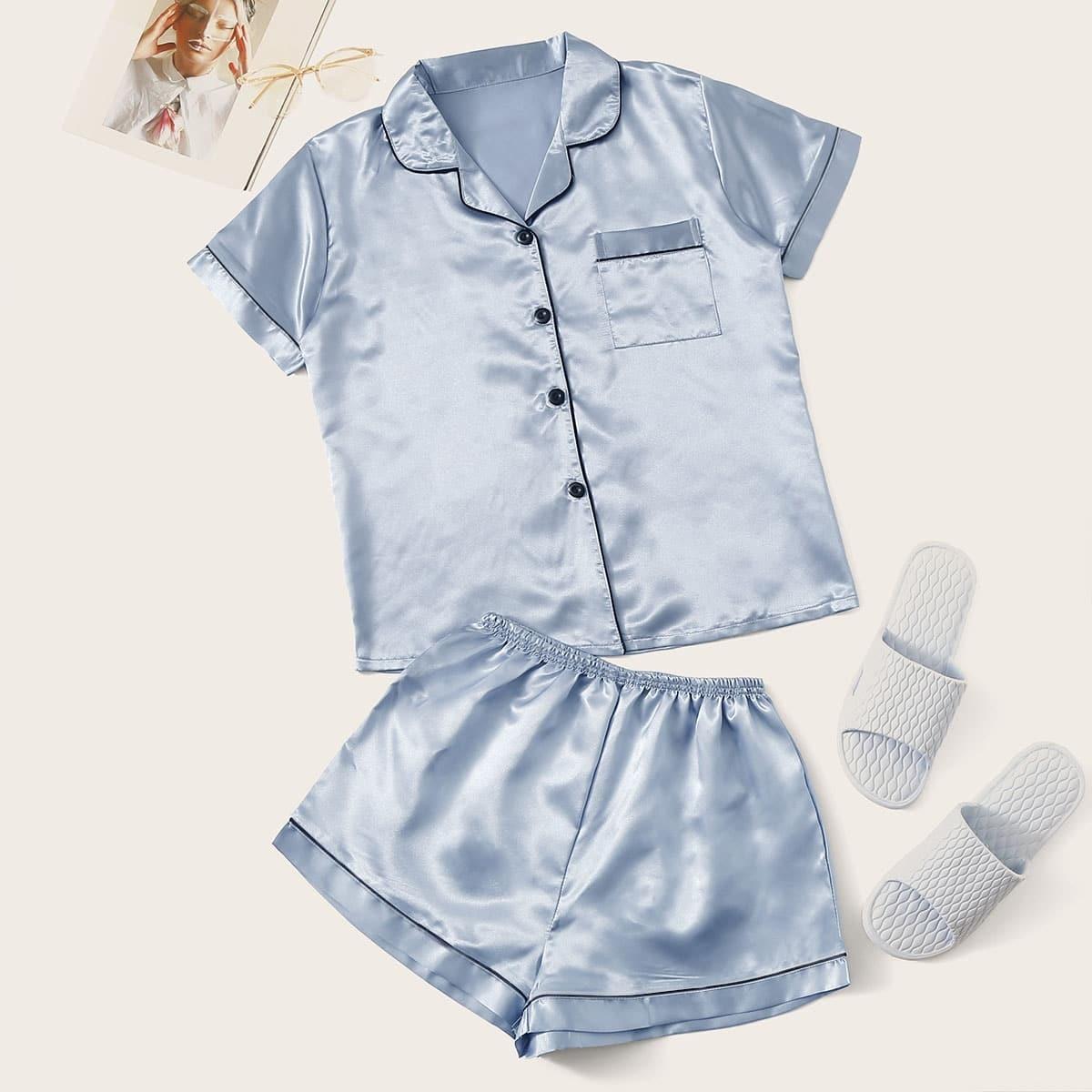 Blauw Casual Vlak Lounge kleding Knoop