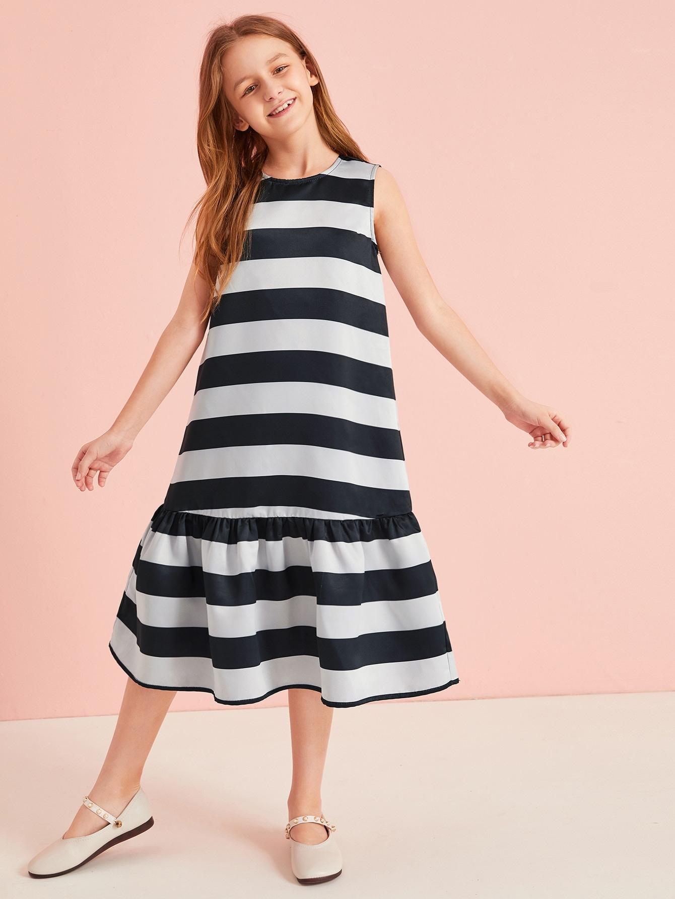 Фото - Полосатое атласное платье без рукавов для девочек от SheIn цвет чёрнобелые