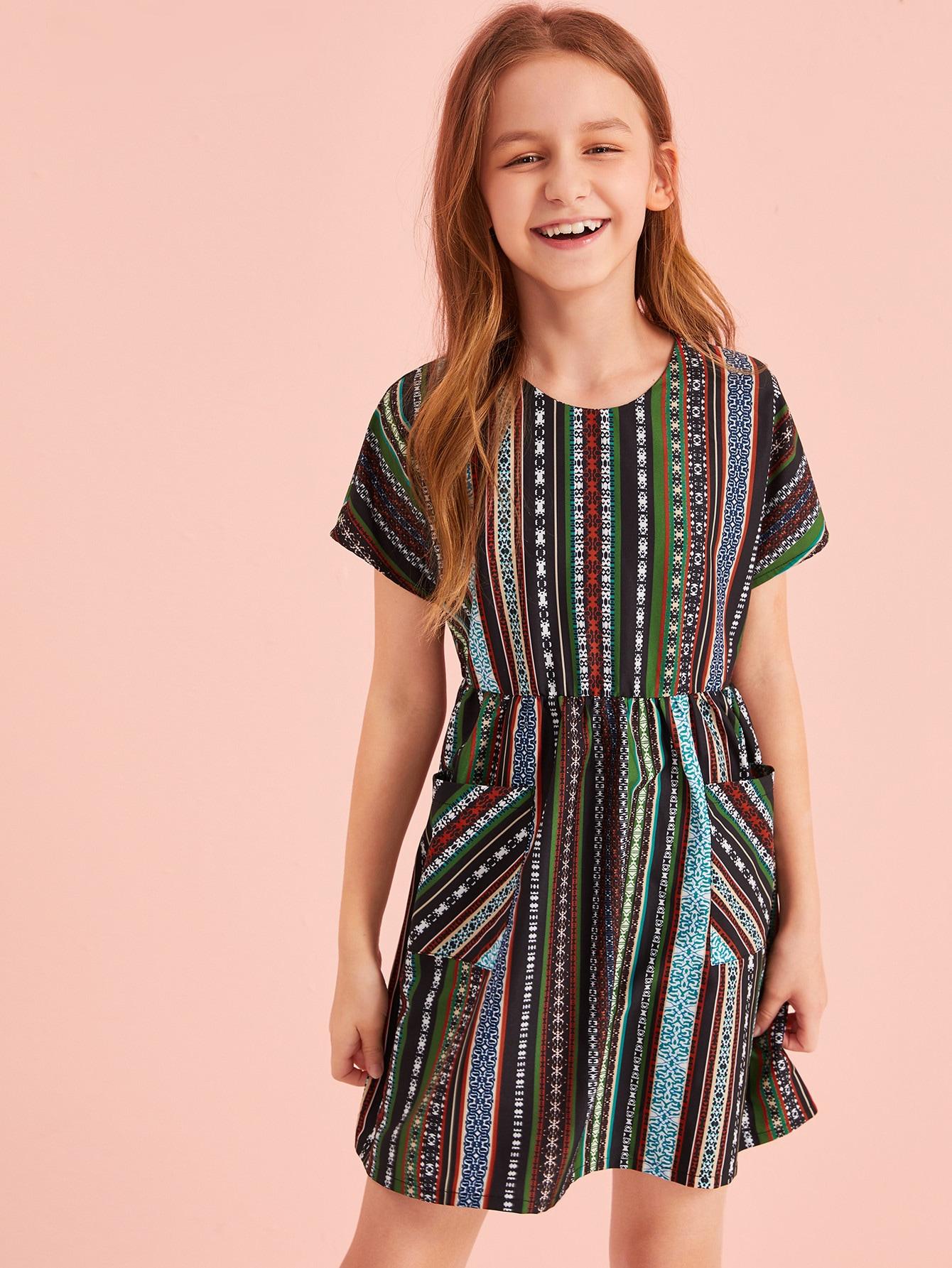 Фото - Платье в полоску с этническим принтом для девочек от SheIn цвет многоцветный