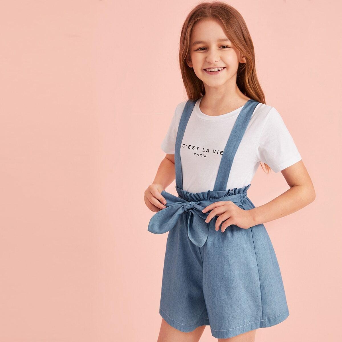 Джинсовые шорты с присборенной талией для девочек от SHEIN