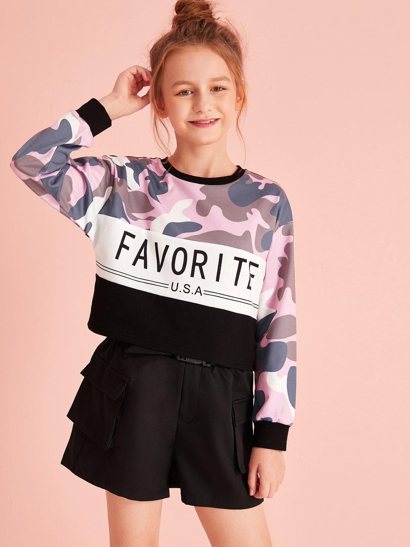 Фото - Кроить и шить камуфляжный пуловер с текстовым принтом для девочек от SheIn цвет многоцветный