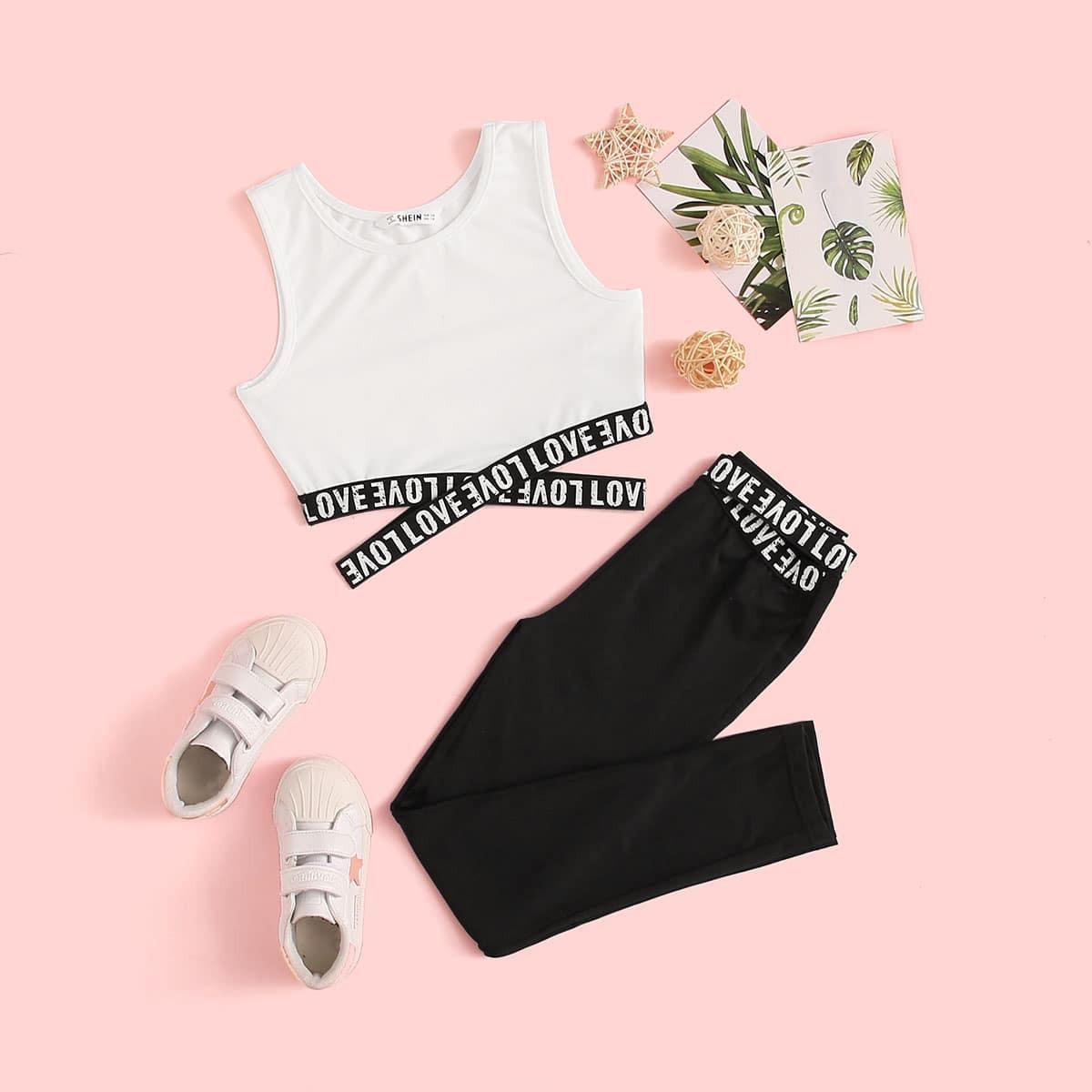 SHEIN / Conjunto de niñas tank top bajo con tiras cruzadas con estampado de letra con leggings