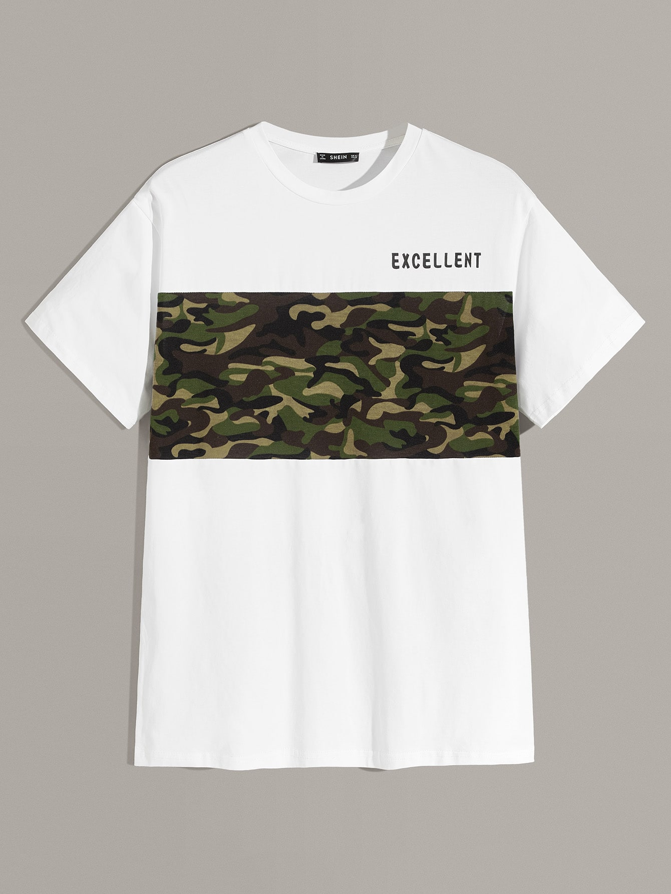 Фото - Мужская футболка с камуфляжным принтом от SheIn белого цвета