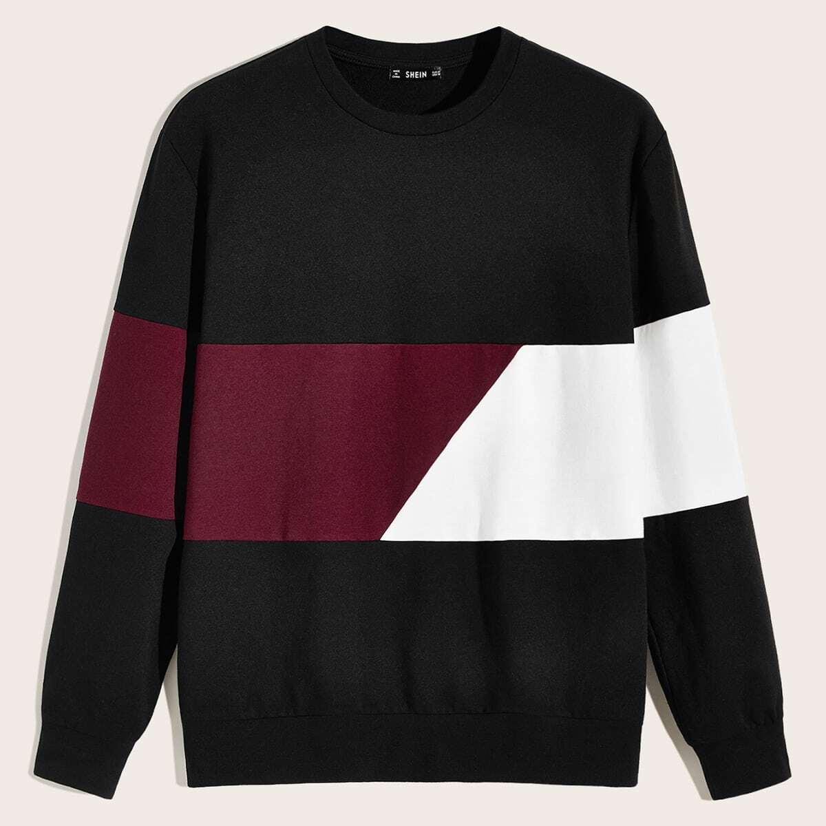 Heren kleurblok pullover