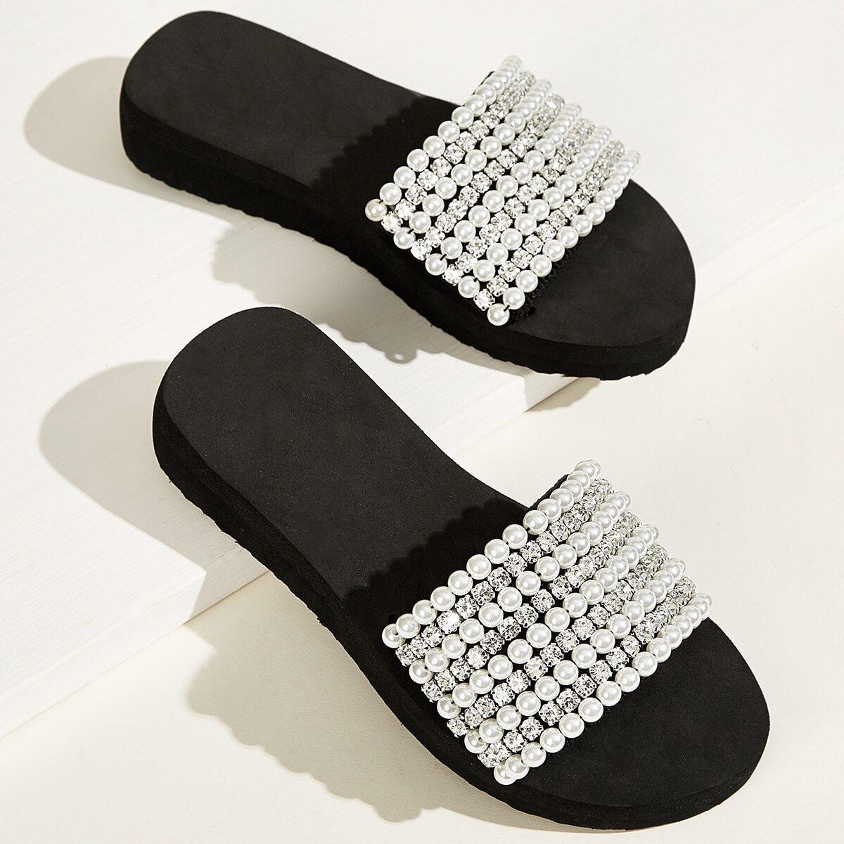 Zwart & wit Feest Slippers Bergkristal