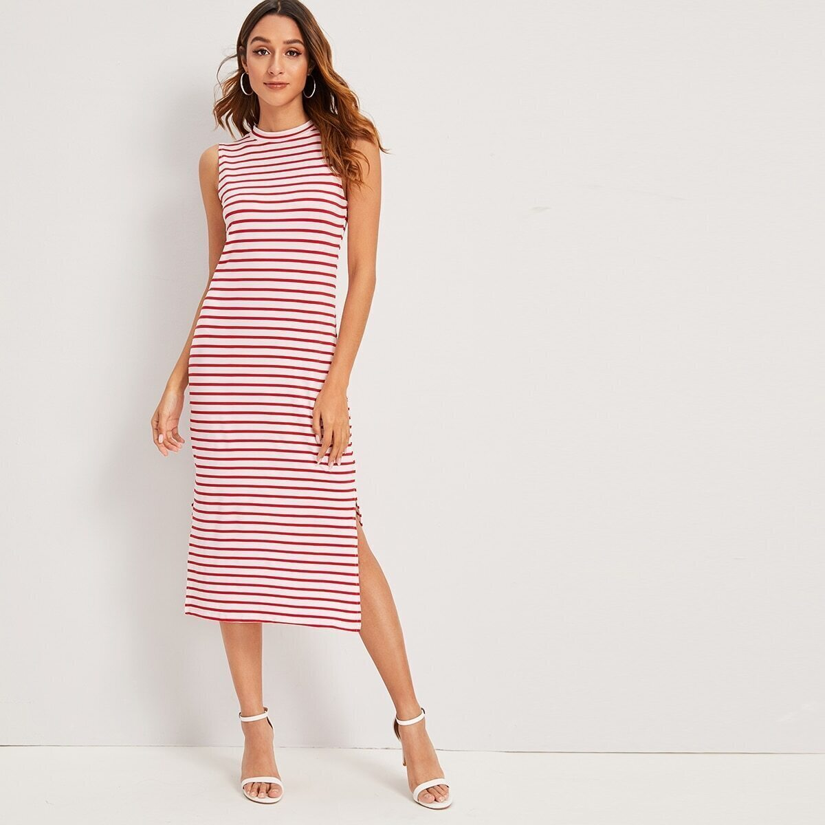 SHEIN / Kleid mit Streifen und Stehkragen