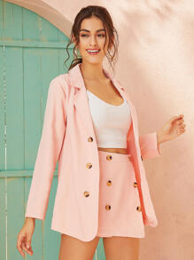 Double-breasted   Blazer   Solid   Skirt   Neck
