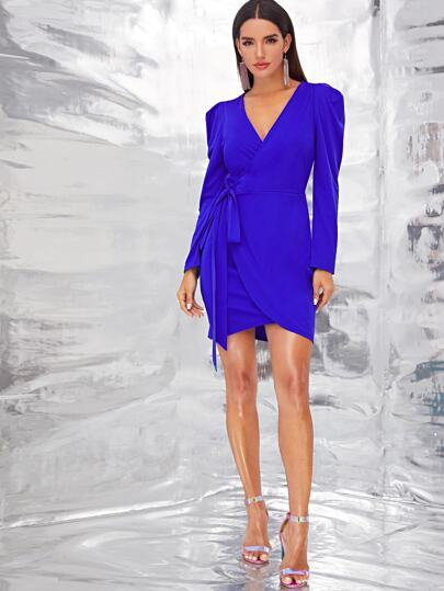 SheIn / Solid Wrap Knotted Puff Sleeve Dress