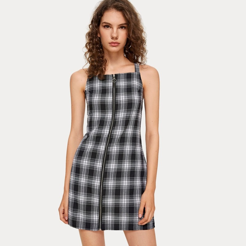 Plaid Zip Front Tank Dress, Black and white