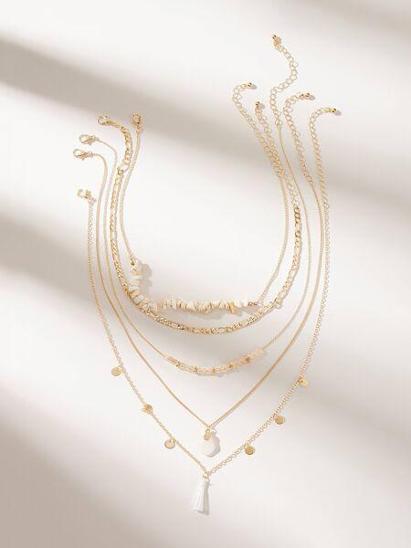 Tassel & Disc Decor Necklace 5pcs