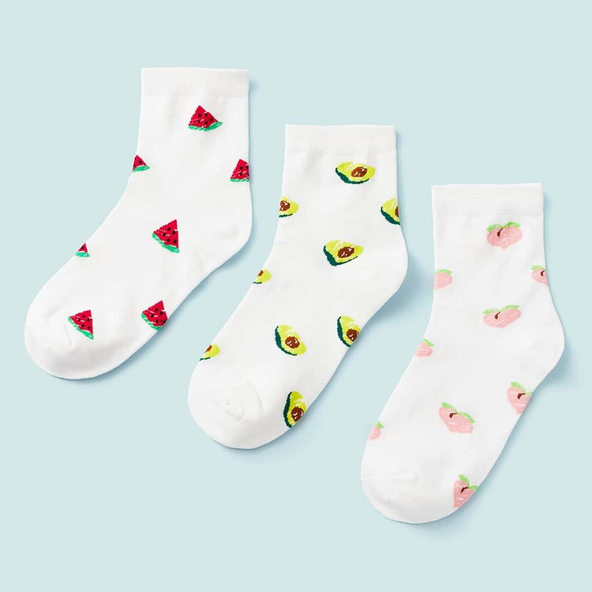 Sokken met watermeloen en perzikpatroon 3 paar