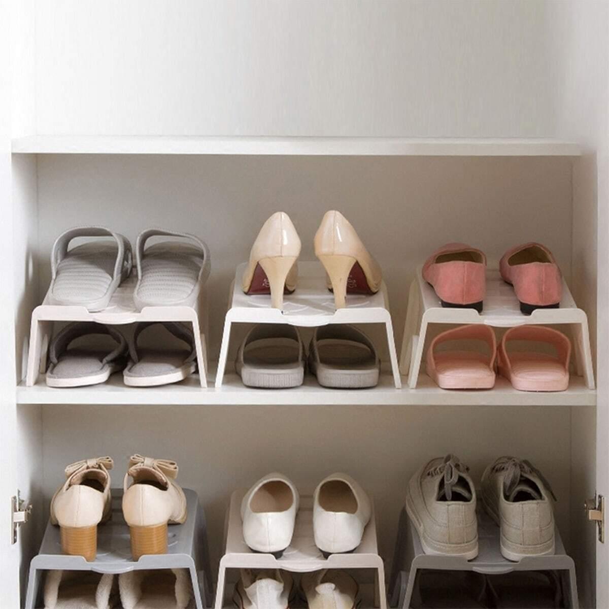 Dubbellaags opslag 2 paar schoenenrek 1 st
