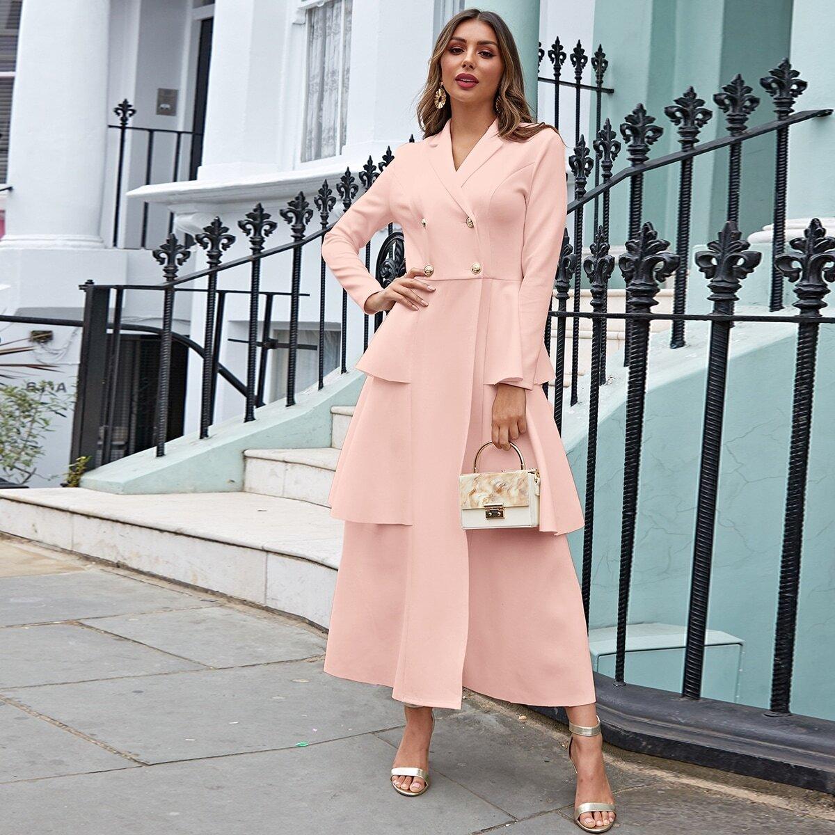 Roze  Elegant Vlak Blazers Rimpeling