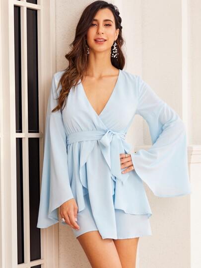 SBetro Flounce Sleeve Ruffle Belted Dress