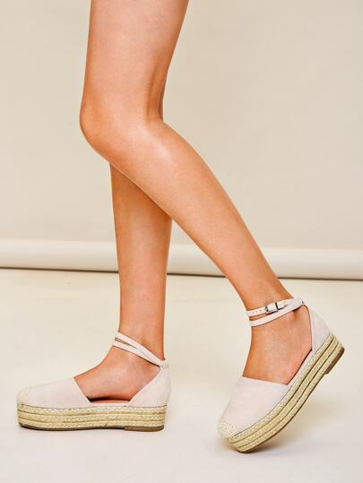 SheIn / Cap Toe Ankle Strap Espadrille Wedges