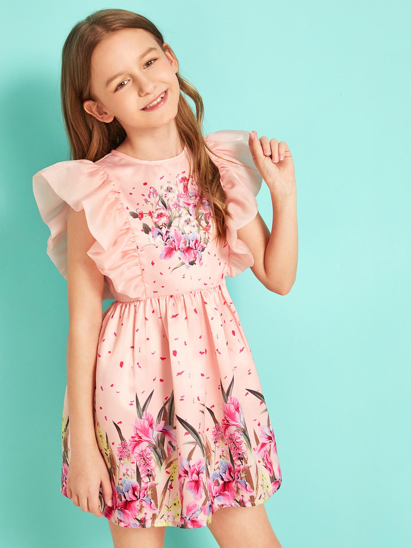 Фото - Расклешенное атласное платье с оборками для девочек от SheIn цвет розовые
