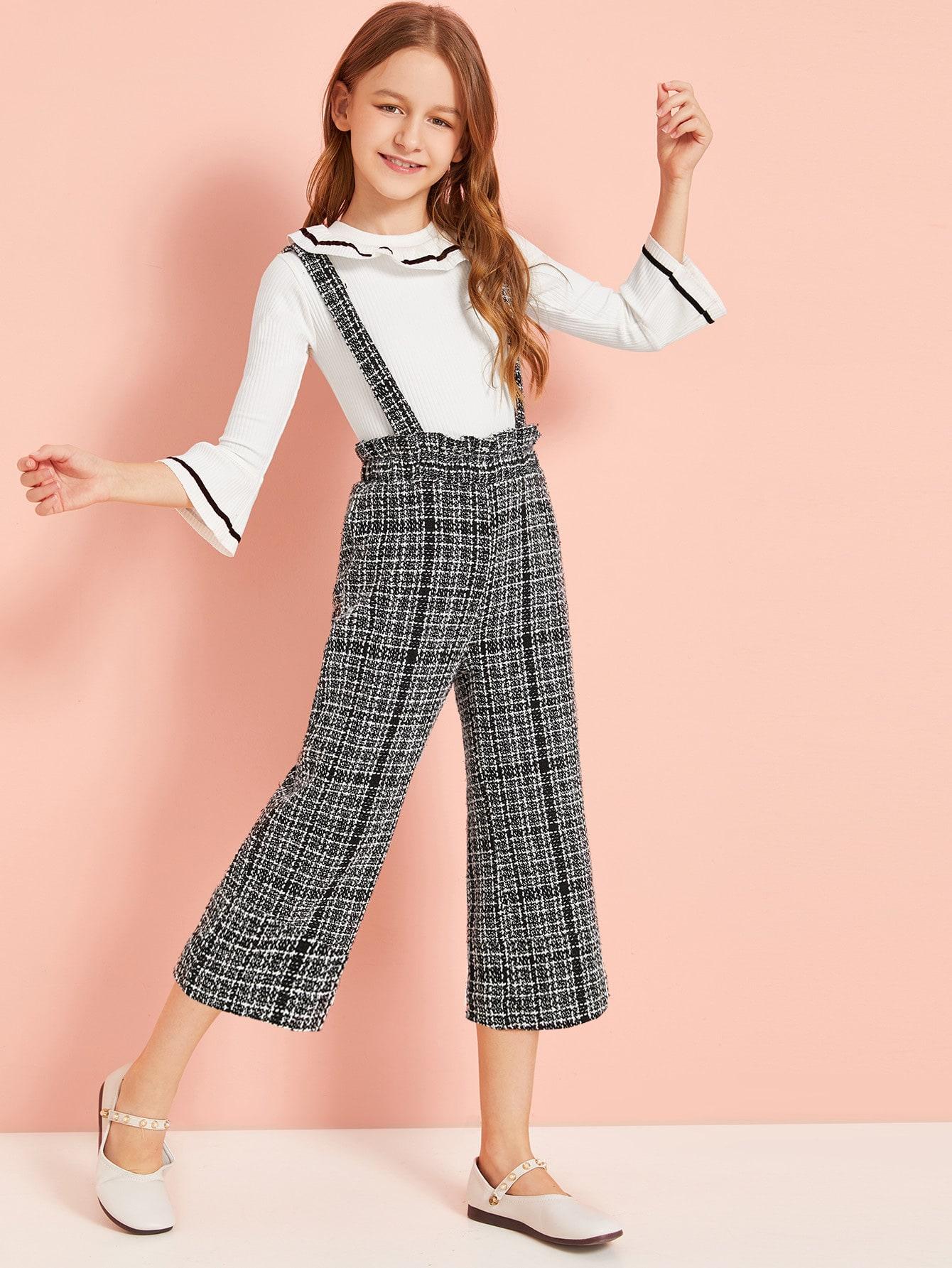 Фото - Твидовые брюки с оборкой для девочек от SheIn цвет чёрнобелые