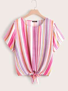 Plus Colorful Striped Knotted Front Top