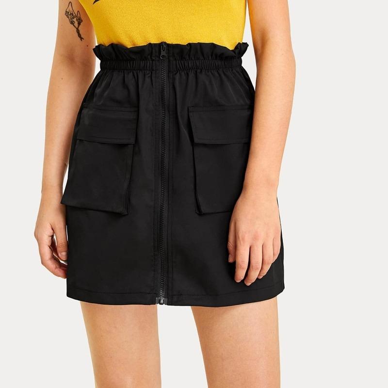 Zip Front Flap Pocket Paperbag Cargo Skirt, Black