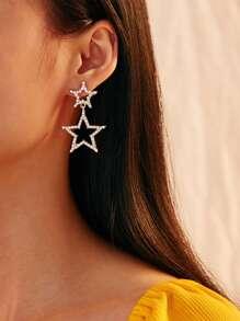 Rhinestone | Engrave | Earring | Double | Star