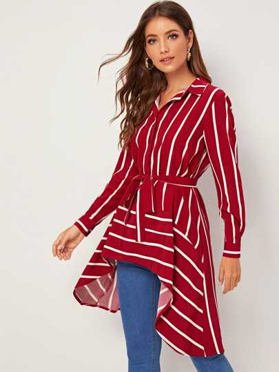 SheIn / Striped Dip Hem Belted Blouse