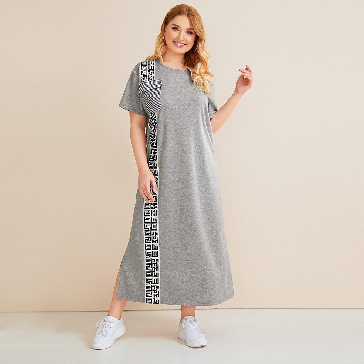 Платье в полоску размера плюс с карманом и разрезом