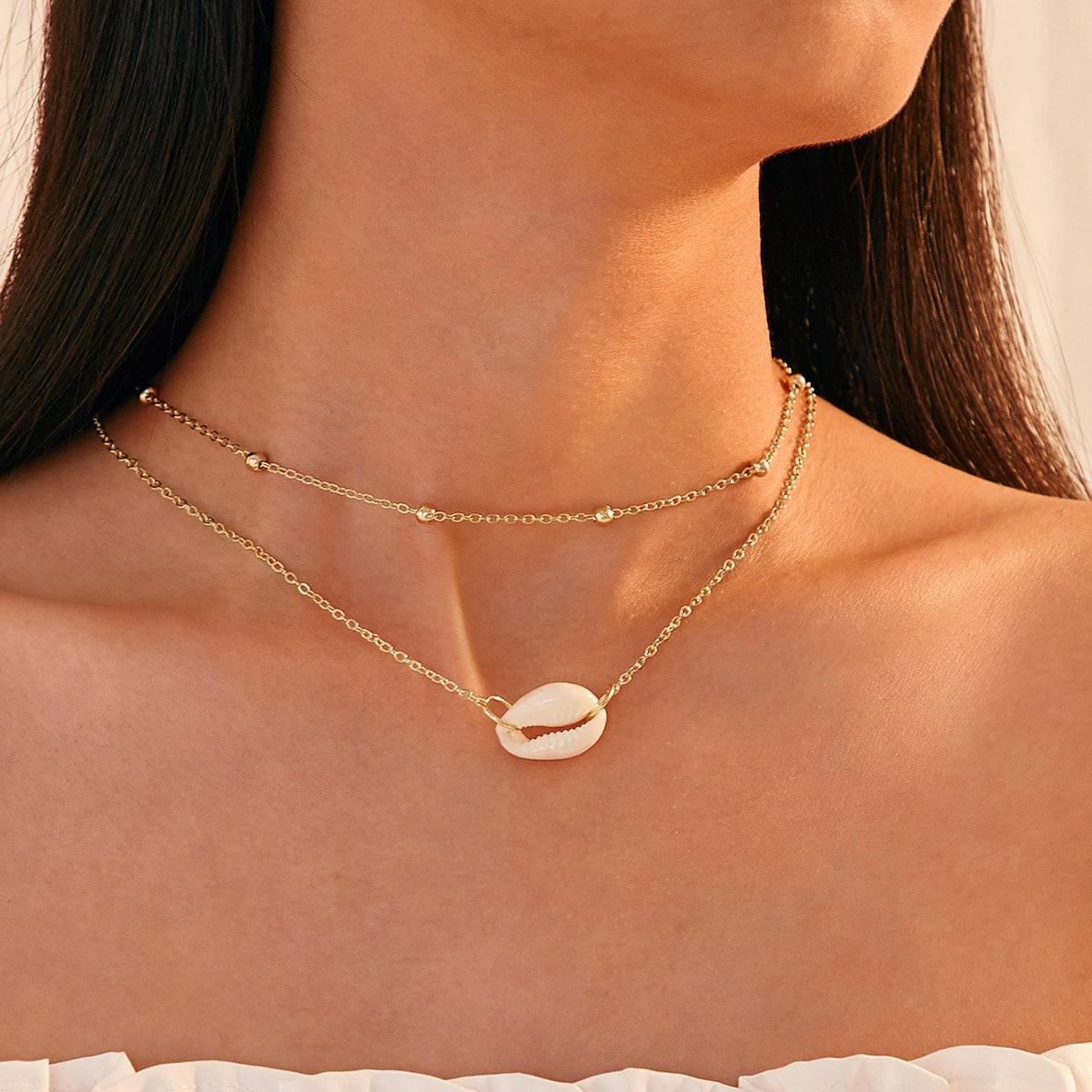 SHEIN / Mehrschichtige Halskette mit Muschel Anhänger 1 Stück