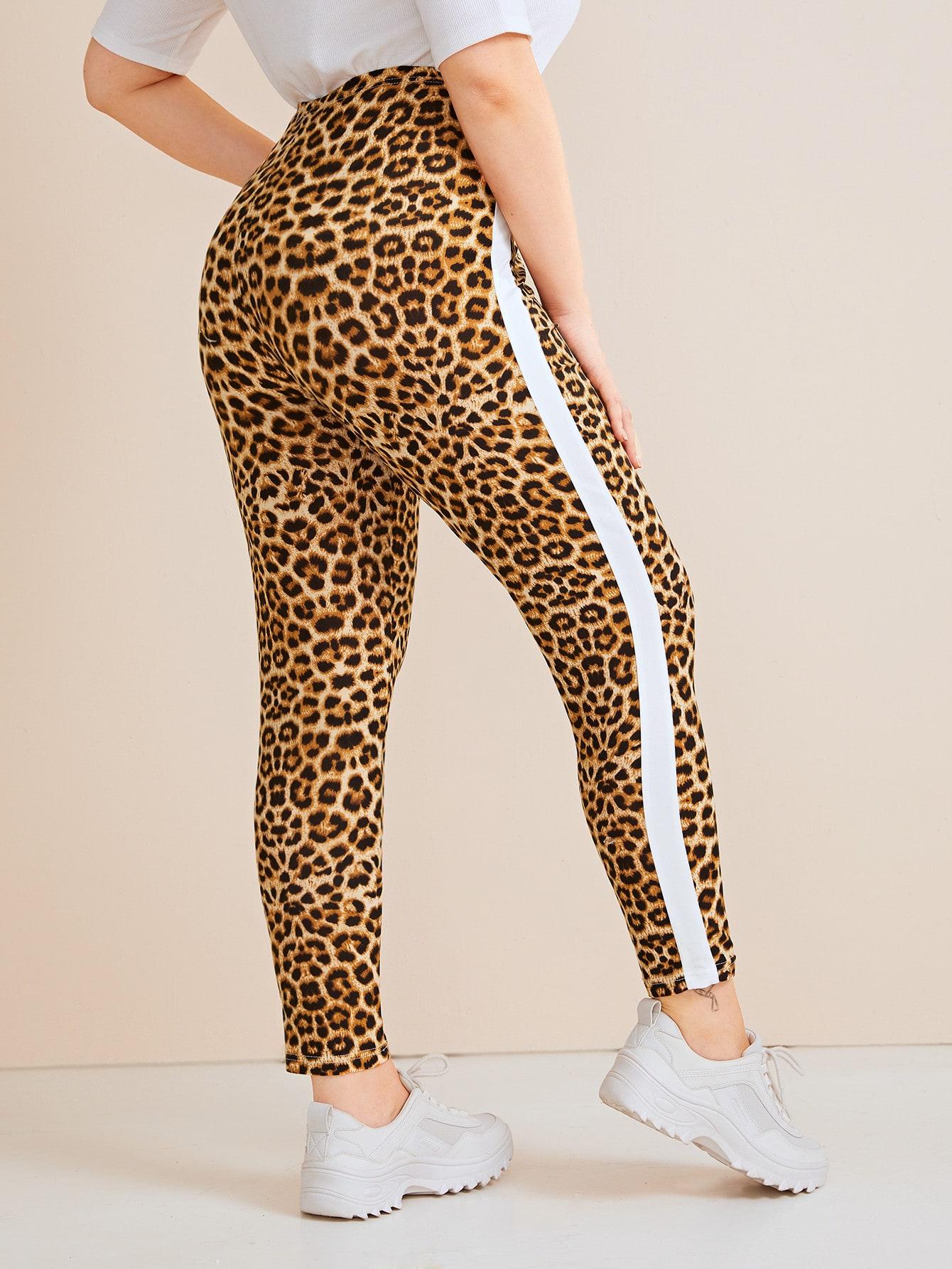 Plus Leopard Contrast Sideseam Leggings