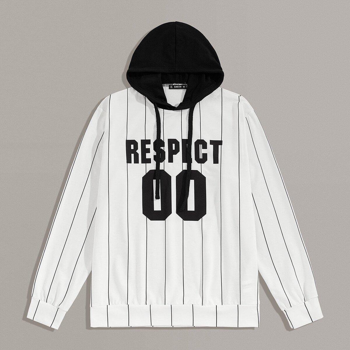 Tweekleurige hoodie met gemengde print voor heren