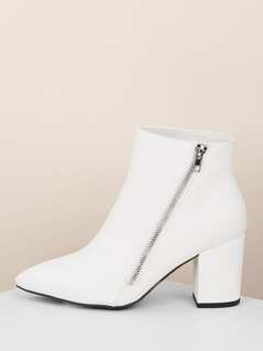 Pointy Toe Block Heel Side Zipper Ankle Boots