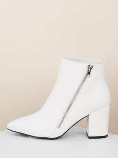 Pointy Toe Block Heel Side Zipper Ankle Boots