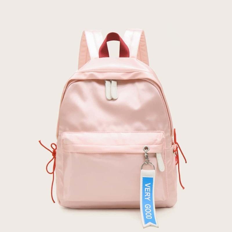 Slogan Ribbon Decor Pocket Front Backpack, Pink