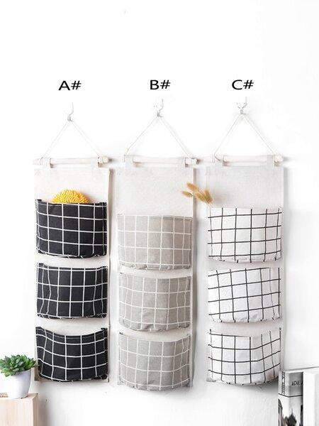 Grid Pattern Wall Hanging Storage Bag 1pc