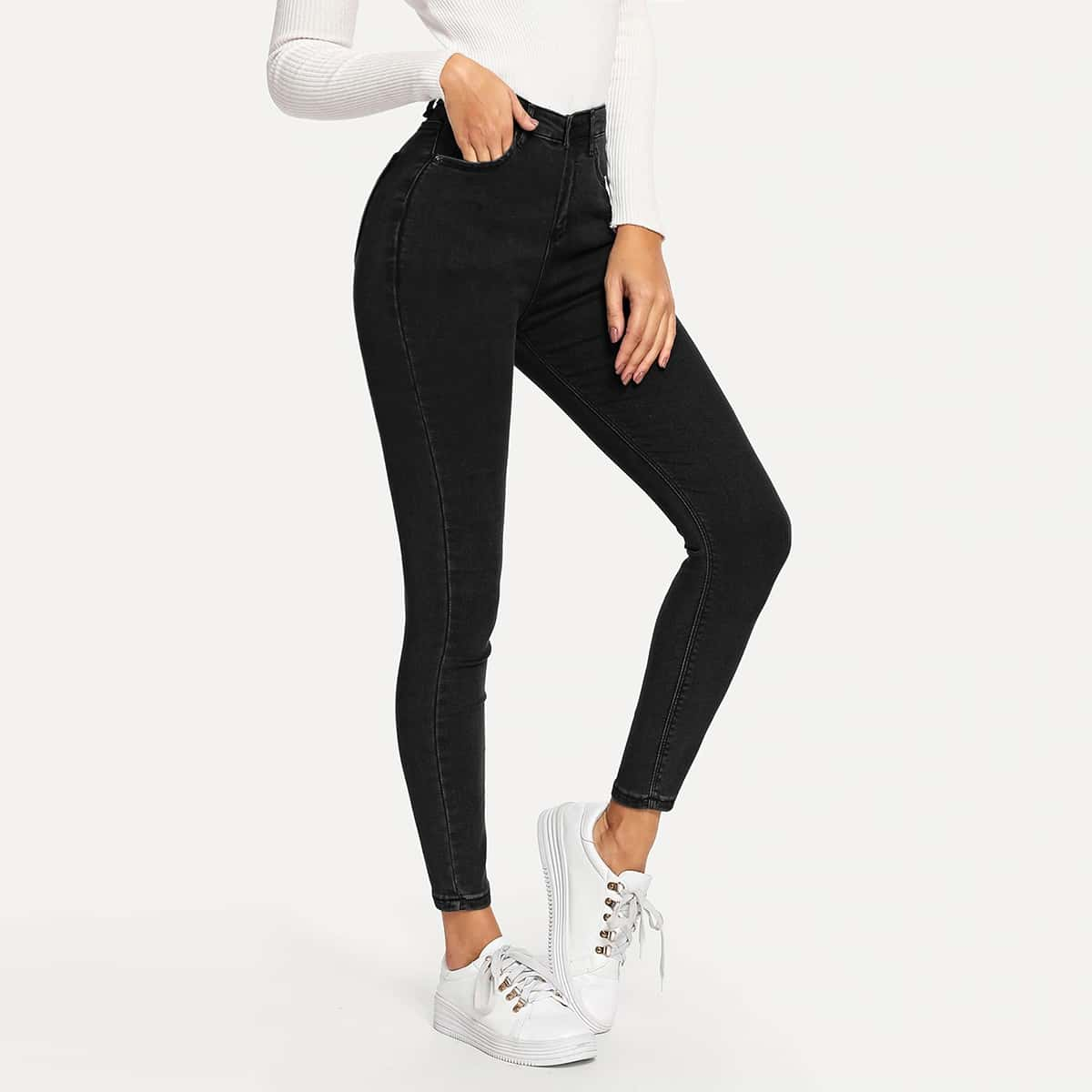 Zwart Casual Vlak jeans