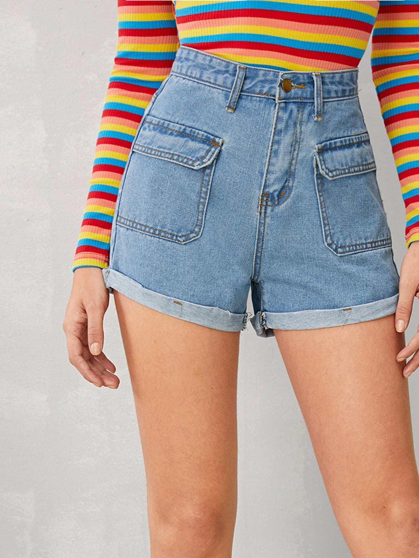 Фото - Джинсовые шорты с карманом от SheIn синего цвета