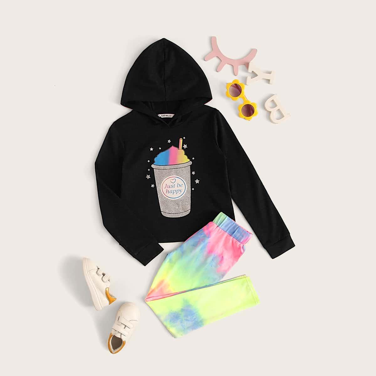 Разноцветные Леггинсы И Толстовка С Графическим Принтом Комплект от SHEIN