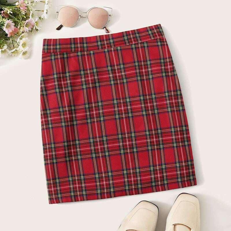 Zip Back Tartan Skirt, Red