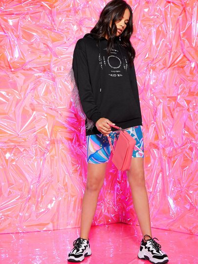 SheIn / Faux Feather Trim Graphic Print Hoodie