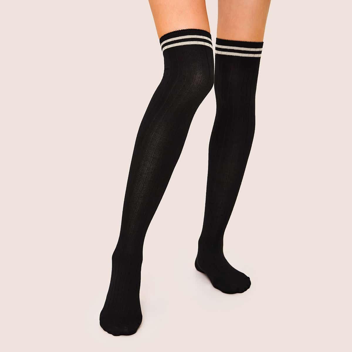 Gestreepte patroon knielengte sokken 1 paar