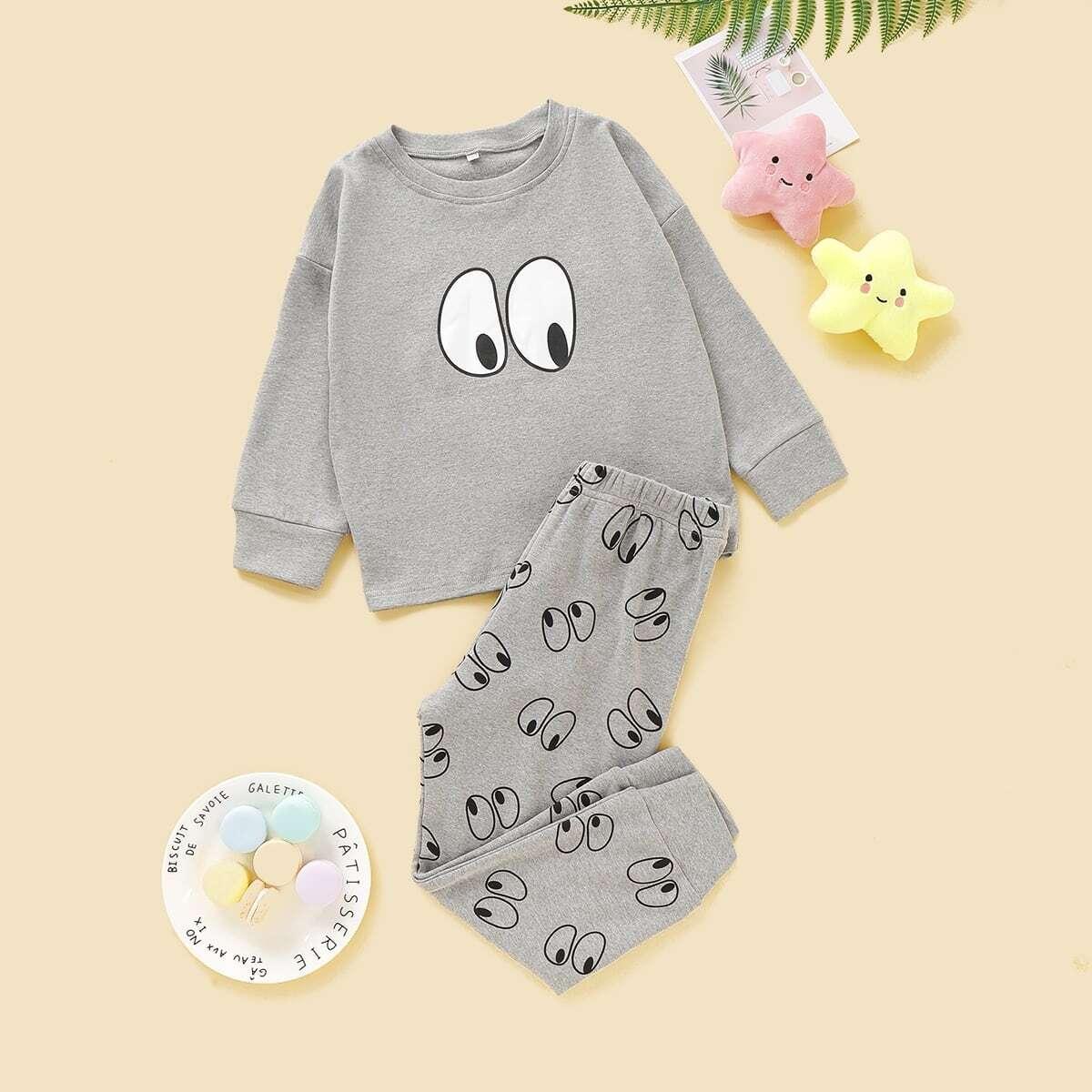 Grijs Casual Spotprent Kleutermeisje pyjamas