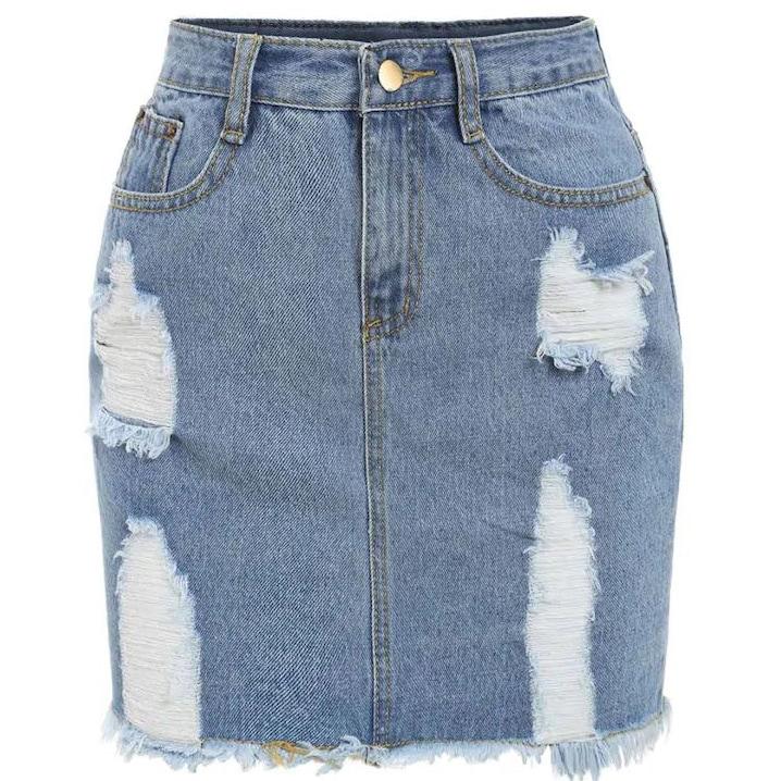 Blauw Casual Vlak Grote maten: jeansrokken Ruwe hem