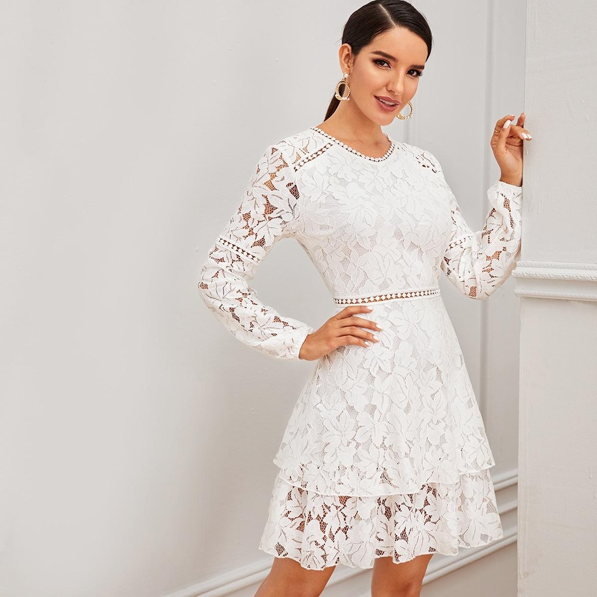 Многослойное платье с кружевом и молнией Image