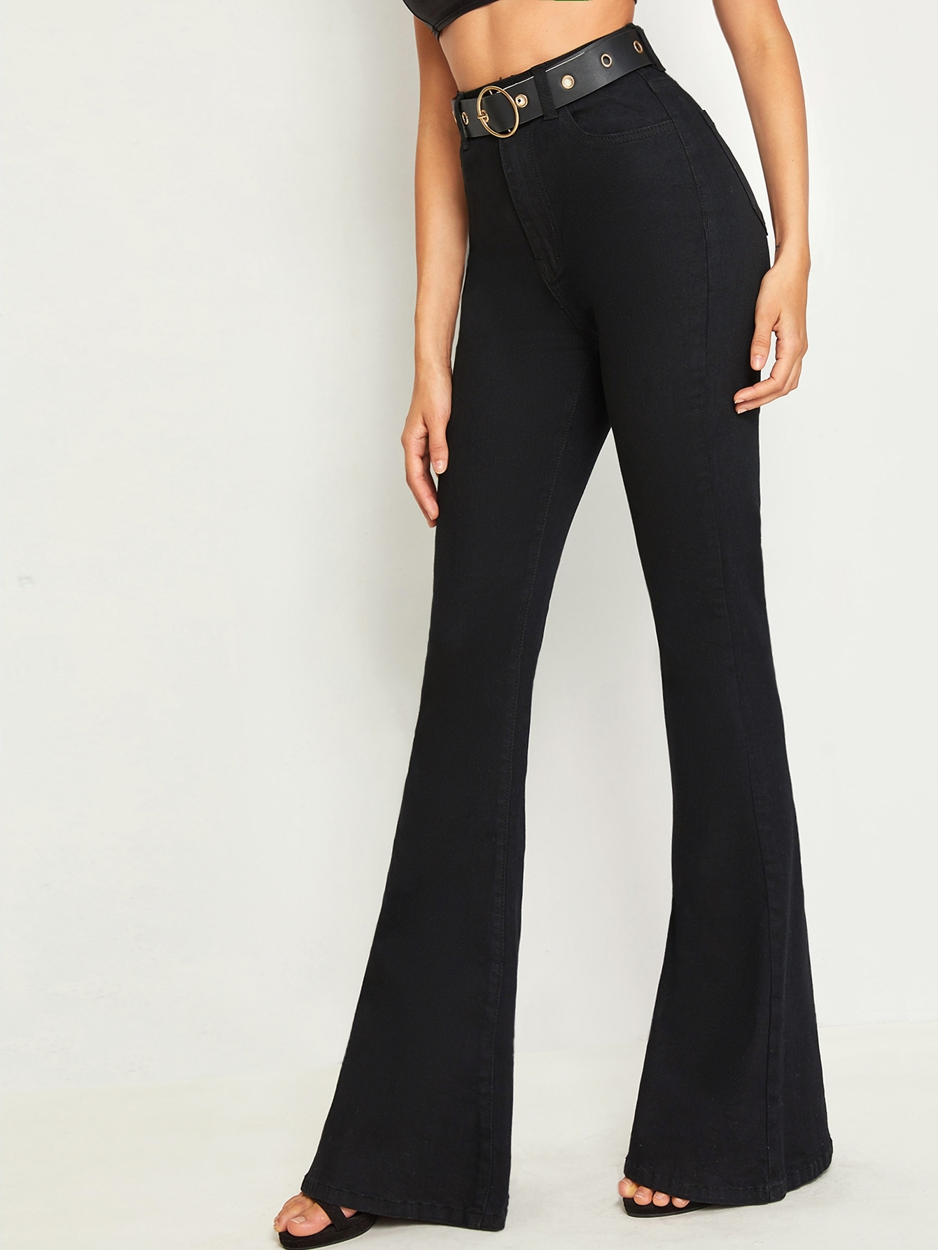 Self Buckle Belted Flare Leg Jeans