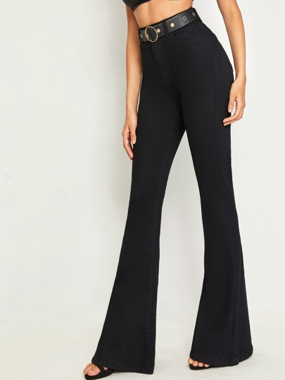 SheIn / Self Buckle Belted Flare Leg Jeans