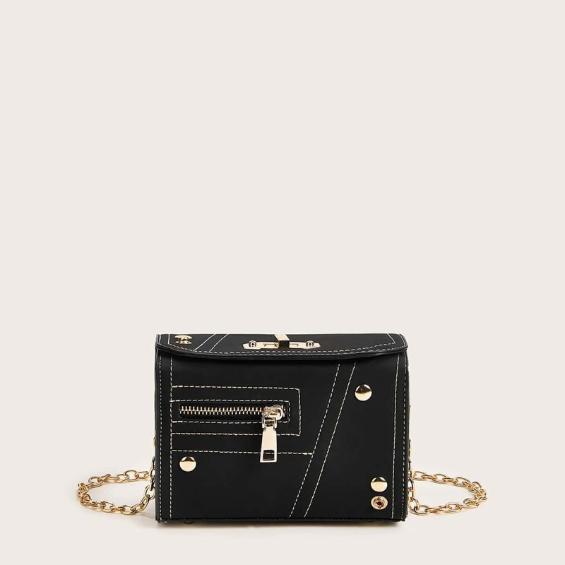 Zip Front Twist Lock Chain Box Bag, Black