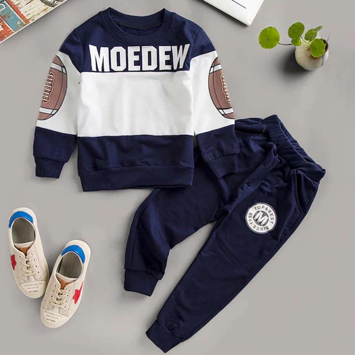 Tweekleurige sweatshirt met print en joggingbroek