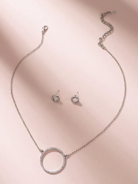 Rhinestone Round Charm Necklace & Earring Set 3pcs