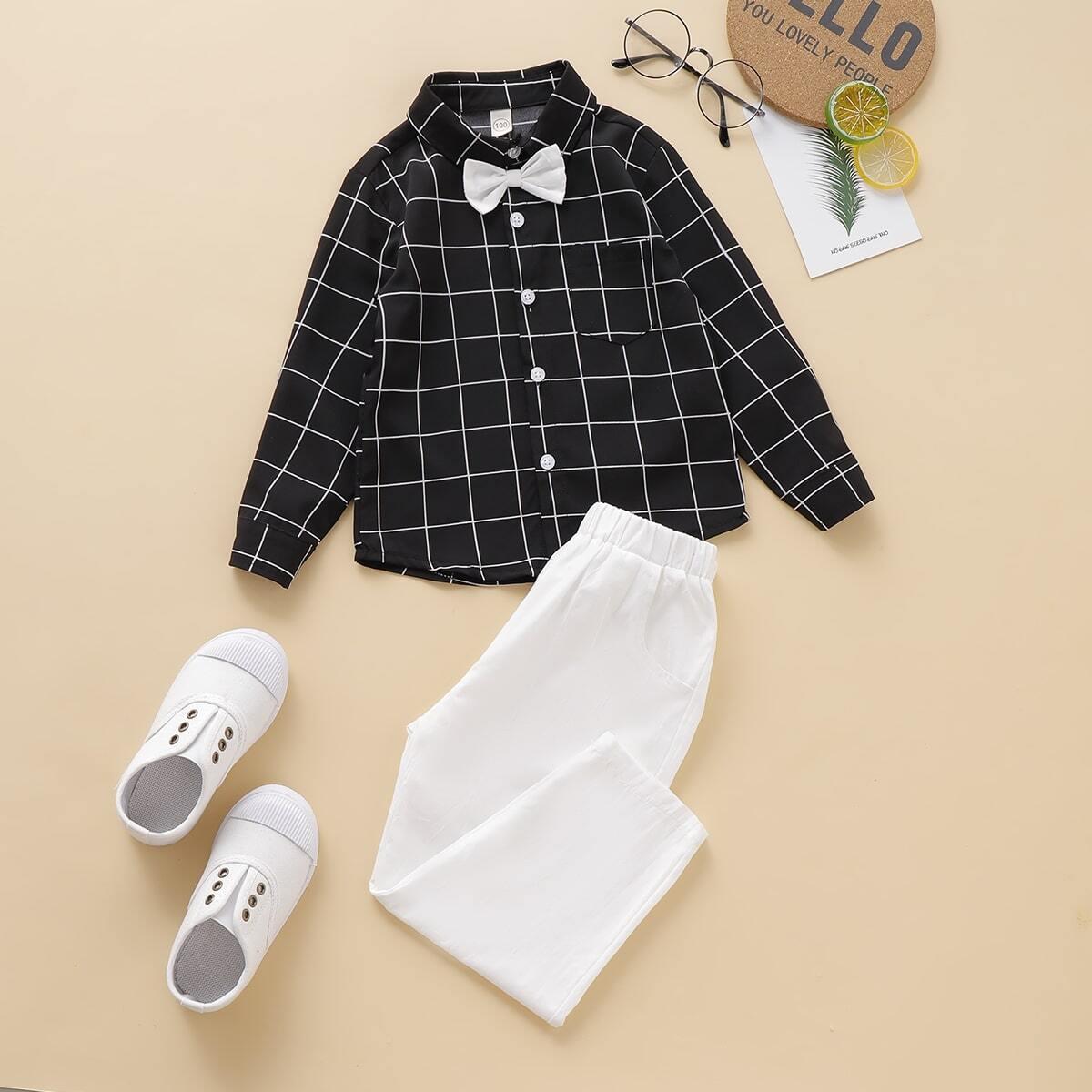 Рубашка в клетку с узлом и брюки для мальчиков от SHEIN