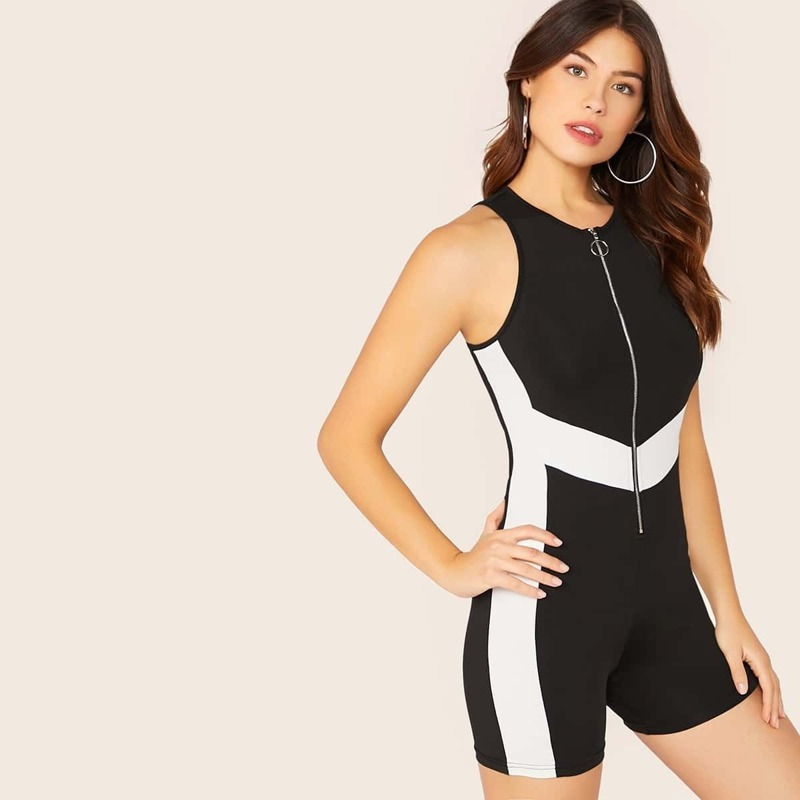 O-ring Zip Up Cut-and-Sew Fitted Romper, Black and white