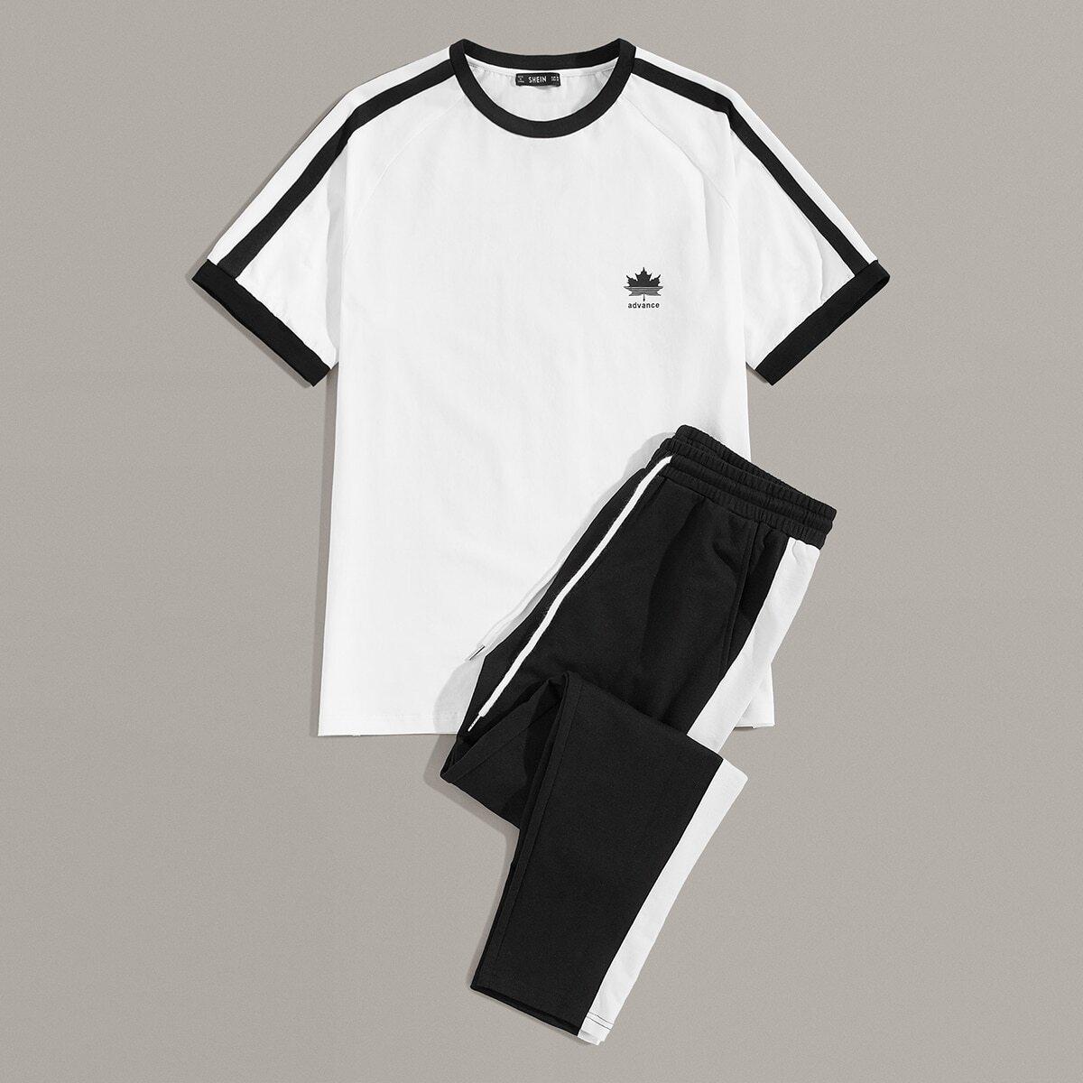 Мужские двухцветная футболка и брюки на кулиске от SHEIN